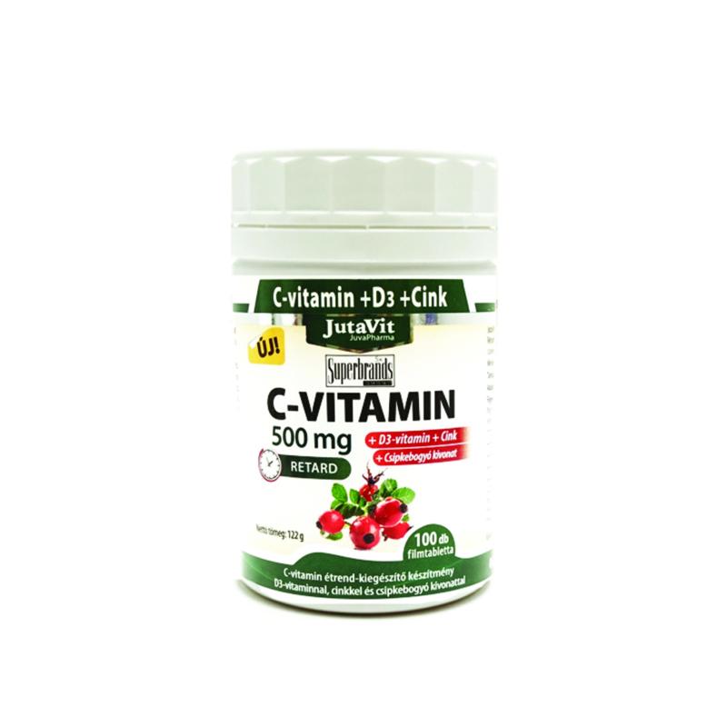 Jutavit C vitamin 500mg csipkebogyó D3 nyújtott hatású 100x