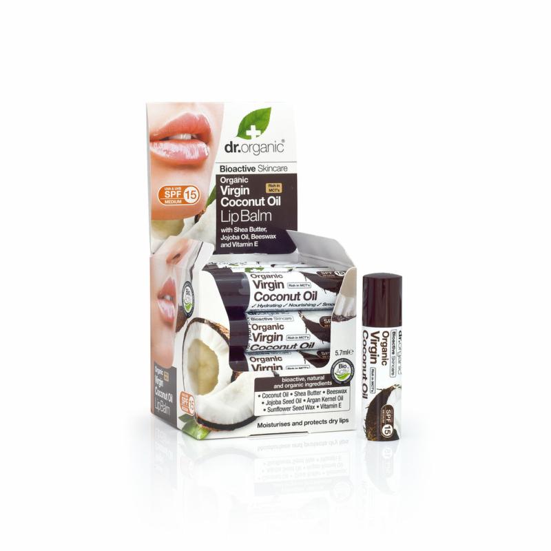 Dr. Organic Ajakbalzsam bioaktív szűz kókuszolajjal • 5,7 ml