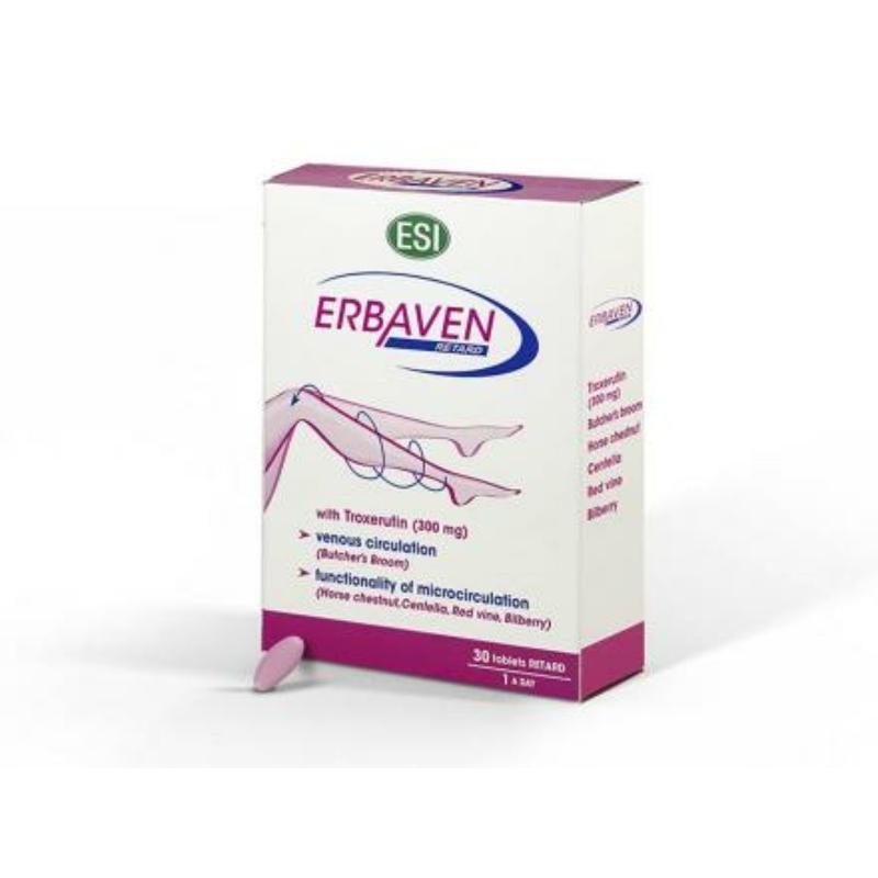 ESI® ERBAVEN® tabletta - lassú felszívódású kivonat visszérre és aranyérre. T-vitamin, gyógynövények.