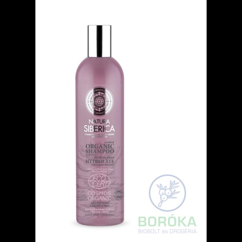 Natura Siberica Virágvízalapú színélénkítő és ragyogást adó bio sampon festett hajra • 400 ml