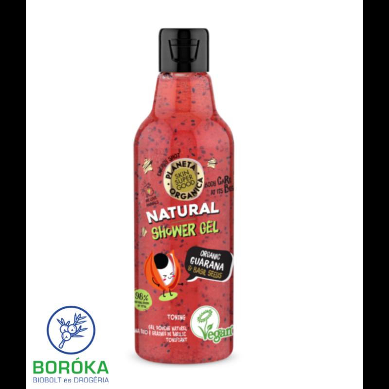 Planeta Organica Skin Super Good natúr tusfürdő organikus guaranával & bazsalikom-maggal 250 ml