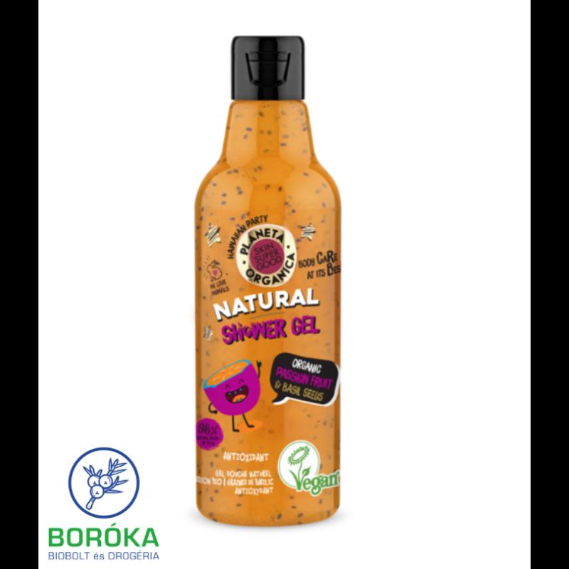 Planeta Organica Skin Super Good natúr tusfürdő organikus maracujával & bazsalikom-maggal 250 ml