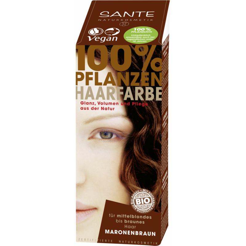 Sante Növényi hajfesték por – Gesztenyebarna • 100g